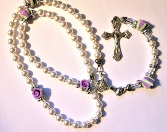 Girls First Communion Rosary with Purple Rosebud Beads & Chalice Center-Sold by Lily of Peace on Etsy