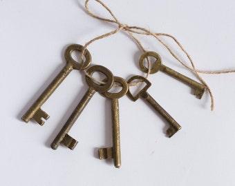 Antique European Brass Skeleton Keys - Lot Of 5 - Authentic Vintage Keys