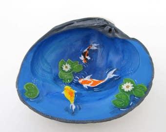 Koi pond clam shell hand painted fairy garden Zen decoration