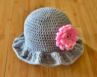 Baby Sunhat - Infant Girl Sun Hat - Gray Floppy Brim Sunhat with Pink Blossom - 6 Month Infant Girl Sunhat - Grey Baby Hat with Pink Flower