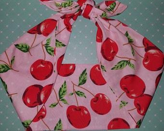 pink cherry rockabilly  bandana,  rockabilly pin up psychobilly  hairband headband