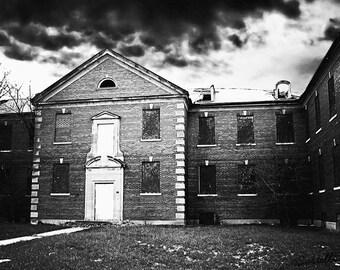 Abandoned Building at Manteno State Hospital, Manteno, Illinois - Asylum Architecture Black and White Photography Print