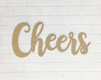 """Cheers Word Sign - 23.5"""" Unfinished MDF - Wedding Decor - Wall Sayings - Bar Signs- Party Decor - Cheers - Calligraphy Wedding - Bridal"""