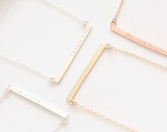 Solid Gold Cross Bar Necklace with Names or Date, Handstamped Skinny Bar Necklace, Solid Rose Gold White Gold Bar Necklace, Mothers Day