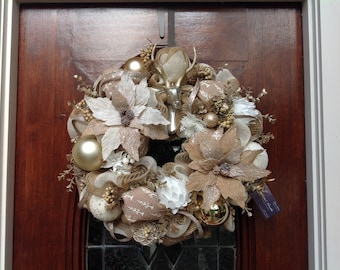 Shabby Chic Neutral Holiday Wreath