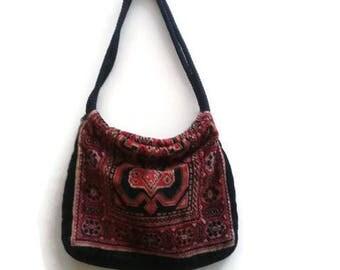 SALE Kilim Carpet Bag Purse Red Black