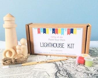 Paint your Own Lighthouse Kit - Paint Kit - Paint Craft Kit - Craft Kit for Kids - Peg Doll Kit