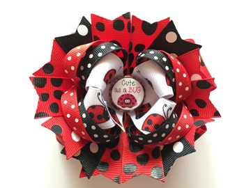 "SALE! Ready To Ship Hairbow! Ladybug Hairbow, ""Cute As A Bug,"" Spring Hairbow, Polka Dot Boutique Hairbow, Girls Hairbow"