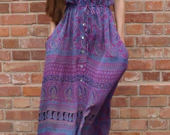purple blaze silk dress/ authentic vintage indian silk dress / flower printed silk dress / boho dress / maxi dress / gipsy dress