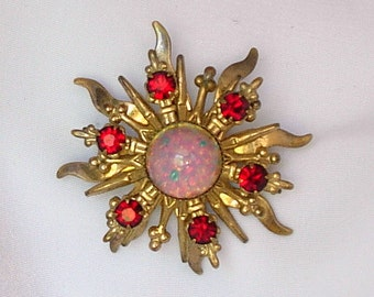 """Vintage Sunburst Small Brooch Pin Faux Opal Ruby Red Prong Set Rhinestones Multi-Layered Dimensional Brooch Victorian Style Dainty 1 1/2"""""""