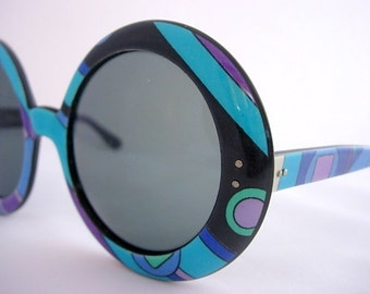 Emilio Pucci Frames Huge Retro Groovy Mod Psychedelic Round Bug Eye Oversized Geometric  Purple Blue Green France Vintage Eyeglasses 60s 70s