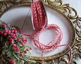 Holiday Jute String, Jute Rope, Christmas Jute, Candy Cane Jute Rope, Vintage Look Jute Rope, Red and White String, Holiday Supplies, String