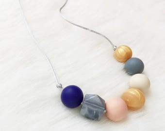 Charcoal Silicone Teething Necklace, Nursing Necklace, Sensory Necklace, Toddler Necklace