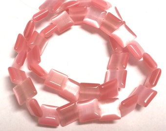 1 strand 43 pieces 8.5mm cat eye square shape glass beads-9105