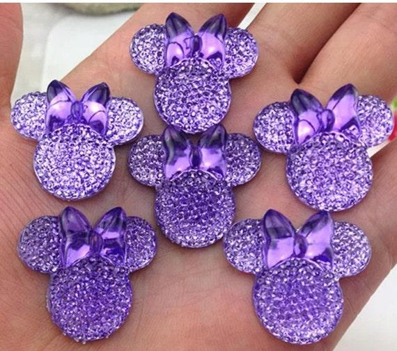 6pcs Purple 28mm Flat Back Mouse Head & Bow Resin Rhinestones Gems - DIY Craft Embellishments by MajorCrafts