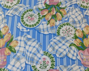 Vintage Tulips and Plates Tablecloth 56 x 77