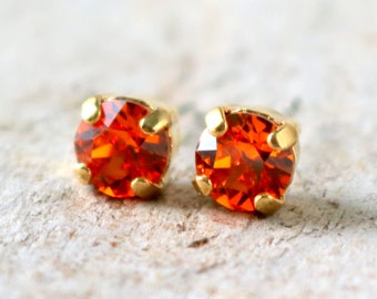 Tangerine | Crystal Stud Earring | Wedding Jewelry | Orange Earrings | Tangerine Wedding | Beach Jewelry | Orange Wedding | Orange Tangerine