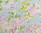 One Yard of Vintage Sheet Fabric - Purple and White Floral on Blue
