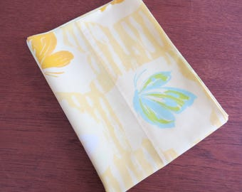 """Vintage Pillowcase - Yellow and Blue Butterfly - 29"""" x 19"""""""