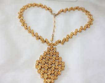 Vintage Gold Statement  Necklace Couture Pendant Necklace, 1980s Jewelry
