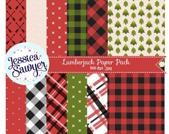 INSTANT DOWNLOAD, lumberjack plaid digital papers for planner stickers, products, and crafts