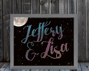 Custom Written In The Stars Print - Write your name, phrase or dates - Constellation - Galaxy - Frame Not Included