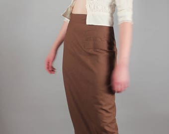 80's Designer Paul et Duffier High Waisted Brown Wiggle Pencil Skirt