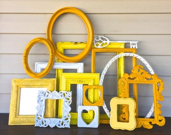 Marigold, Yellow, White Open Frame Gallery - Empty Frame Wall Decor - 14 Pc w/Oval Frames