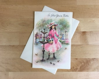 Vintage So Glad You're Better Greeting Card - Woman in the Park Watercolor Design - from the Coronation Collection