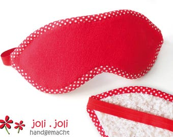 Cuddly Eye Mask in red-white, made of eco-plush