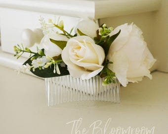 Cream peony comb, Rose and peony, Cream, Green, White, Classic flower comb, Comb, Flower comb, Bridal flower comb, Silk flower comb, Tamika