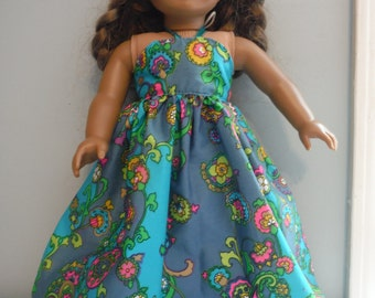 18 Inch Doll long halter maxie dress by Project Funway on Etsy.