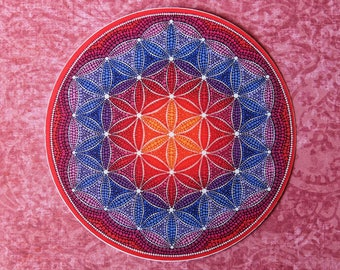 Funky Colourful Sticker- Firey Flower of Life Mandala by Elspeth McLean