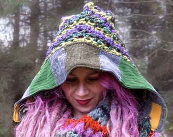 Crochet women hat Pixie hood Recycled sweaters knit hat Elf Ready to ship winter hat Knitted hat with patchwork Green hood Made in Canada