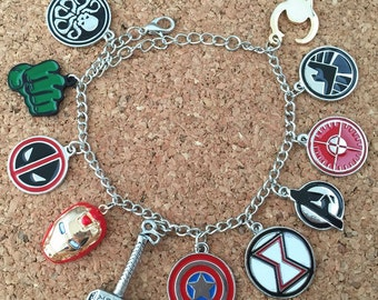 Marvel superheroes inspired charm bracelet