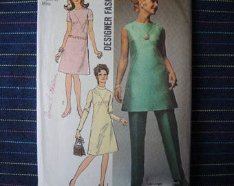 vintage 1970s simplicity sewing pattern 9062 misses dress or tunic and pants size 14