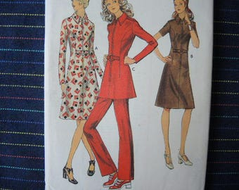 vintage 1970s Style sewing pattern 3356 misses dress or tunic and trousers size 16 1/2