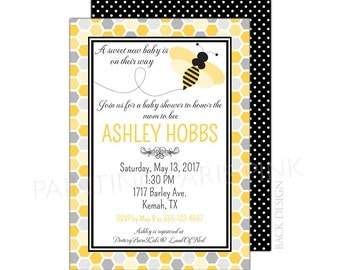 Bumble Bee Baby Shower Invitation 5x7 Customized | Honeycomb | Babee | Buzz