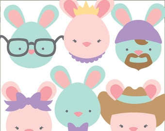 Easter Clipart Simple Bunnies -Personal and Limited Commercial Use- spring clipart, Easter Bunny Clip Art
