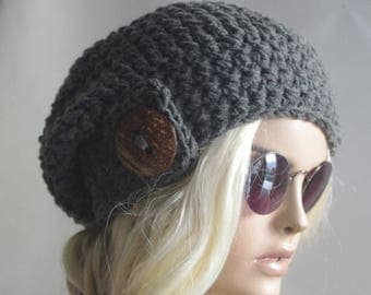 Womens Hats Gifts for her girl hat Cap Beanie sluchyhats Gray woman hats Womens Cancer Headwear Chunky Knit Hat Beanie