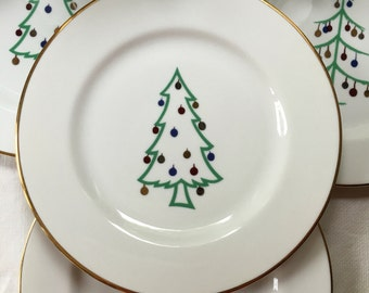 Set of 4 Christmas Appetizer Plates Minno Supreme Porcelain Germany Christmas Tree Pattern