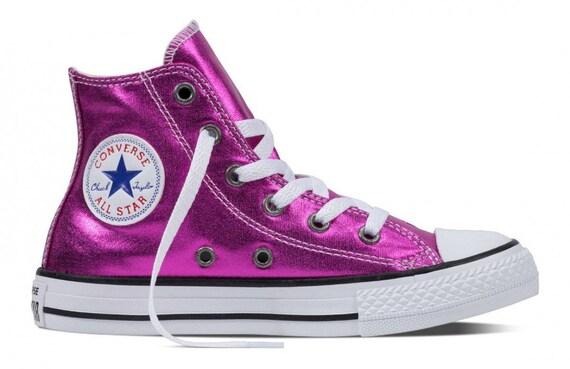 Converse High Top Hot Pink Fuchsia Magenta  Metallic Chuck Taylor Custom w/ Swarovski Crystal Rhinestone Jewel Bling All Star Sneakers Shoes