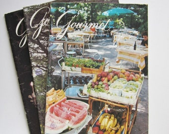 Vintage Gourmet Magazines, 1973 Gourmet Magazines, Foodie Gifts, Cooking Magazines, Food Ephemera