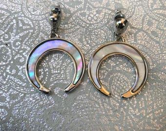 Crescent Moon Earrings Irridescent Earrings Moon Jewelry Luna