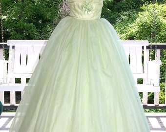 ON SALE Vintage 1950s 60s Green Chiffon over Tulle Prom Party Evening Gown Dress Satin Roses Stunning!