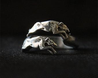 Greyhound Ring - Whippet Ring - Running Sighthound - Galgo Jewelry - Pewter