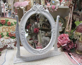 Shabby Chic All White Oval STANDING MIRROR,  Embellished Back with Pink Roses, Cottage Decor, Victorian, Romantic Home Decor. Vanity Decor