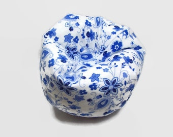 Blue and White Floral Doll Bean Bag Chair - Made to Fit 14 to 18 Inch Dolls - 18 Inch Doll Clothes