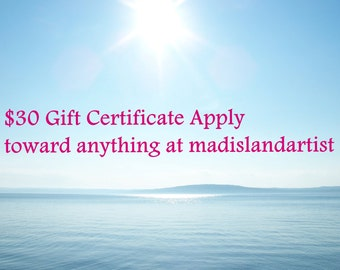 Gift Certificate, 30 dollar minimum purchase, good online or in person