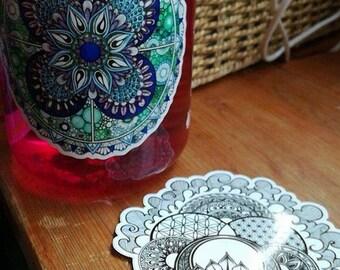 1 x Vinyl mandala sticker - lotus or water mandala - 10cm -sophie nina